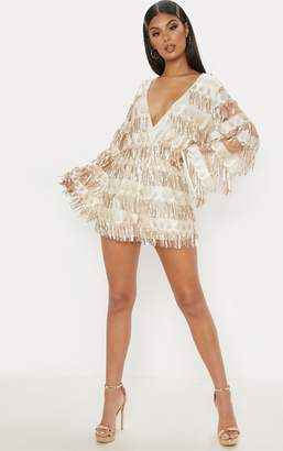 PrettyLittleThing Champagne Tassel Sequin Wrap Front Playsuit