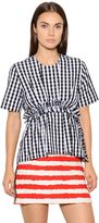 MSGM Ruffled & Checked Cotton Poplin Top