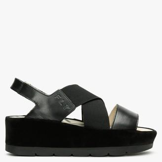 Fly London Bime Black Leather & Suede Slab Sandals