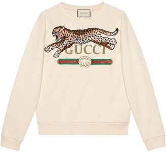 Gucci logo sweatshirt with leopard
