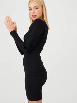 AX Paris Puff Sleeved Bodycon Dress - Black