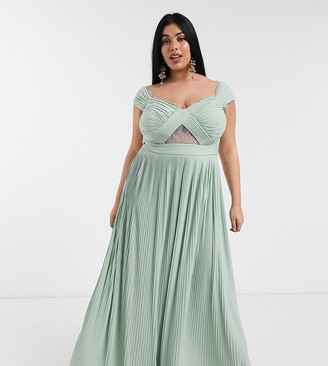 ASOS DESIGN Curve premium lace and pleat bardot maxi dress