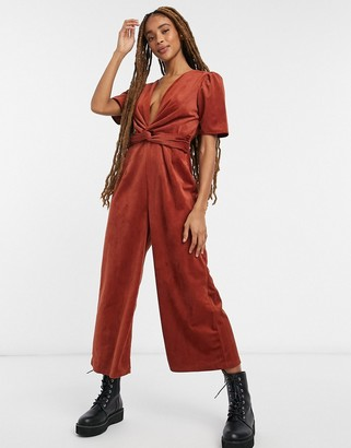 ASOS DESIGN plunge knot front corduroy jumpsuit in brown