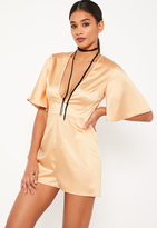Missguided Nude Wide Sleeve Plunge Satin Playsuit