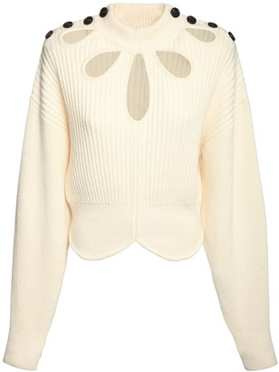 Self-Portrait Knit Cotton & Wool Sweater W/ Cutouts