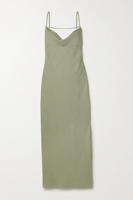 Jacquemus Adour Draped Hammered-twill Midi Dress - Army green