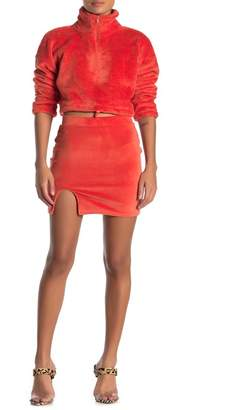Double Zero Front Slit Velvet Mini Skirt