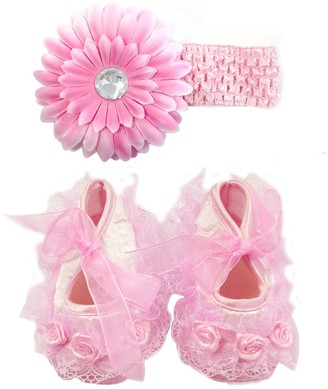 Keepsake Wrapables Floral and Lace Shoes and Headband Set