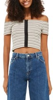 Topshop Women's Stripe Off The Shoulder Crop Top