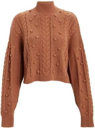 Nicholas Cropped Aran Mock Neck Sweater