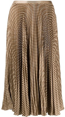 Polo Ralph Lauren Houndstooth Pleated Midi Skirt