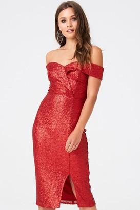 Outrageous Fortune Sequin Split Hem Bardot Dress