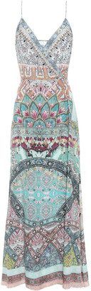 Camilla Crystal-embellished Printed Silk Crepe De Chine Maxi Wrap Dress
