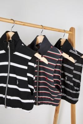 Urban Renewal Vintage Remade From Vintage Black Stripe Branded Zip-Through Top - Black M/L at Urban Outfitters
