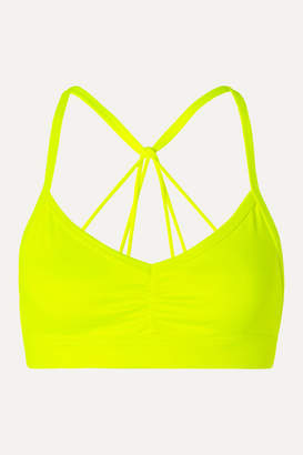 Alo Yoga Sunny Neon Ruched Stretch Sports Bra