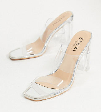Simmi Wide Fit Simmi London Wide Fit Heidi double strap mules with toe plating in silver