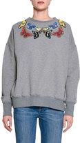 Alexander McQueen Butterfly-Embellished Cotton Sweatshirt, Gray