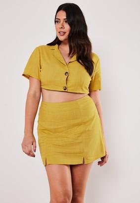 Missguided Plus Size Yellow Co Ord Linen Look Split Hem Mini Skirt
