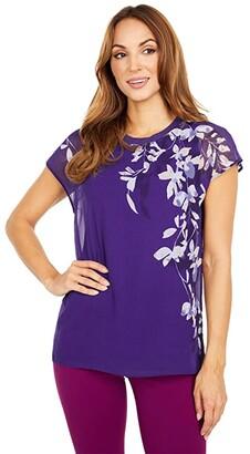 Calvin Klein Print Chiffon Rib Neck Blouse (Night Floral Print) Women's Clothing