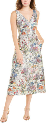 Tory Burch Button Silk-Blend Midi Dress