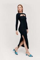 Thumbnail for your product : Nasty Gal Womens Cut Out Ribbed Long Sleeve Midi Dress - Black - 4