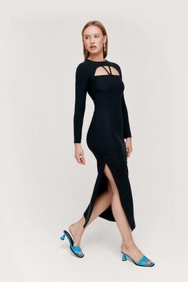 Nasty Gal Womens Cut Out Ribbed Long Sleeve Midi Dress - Black - 4