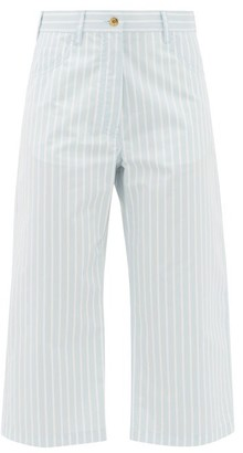 Sies Marjan Issa Striped Cotton-blend Cropped Trousers - Blue Stripe