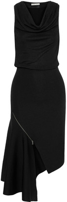 Alice + Olivia Hollis Asymmetric Zip-detailed Stretch-knit Dress