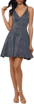 Xscape Evenings Metallic V-Neck Party Dress