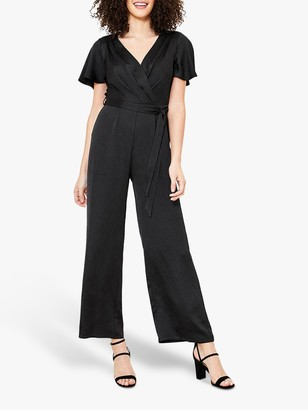 Oasis Satin Wrap Jumpsuit, Black