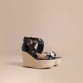Burberry Leather and House Check Platform Espadrille Wedge Sandals