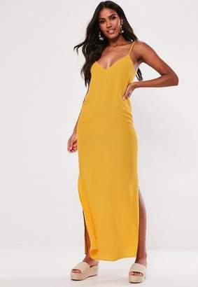 Missguided Petite Mustard Split Leg Maxi Dress