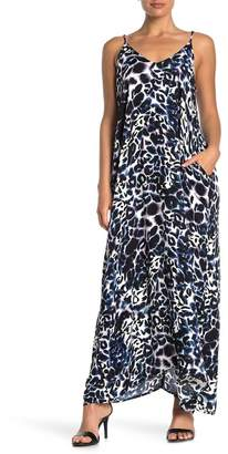 Love Stitch Leopard Print V-Neck Sleeveless Maxi Dress