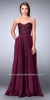 La Femme Strapless Sweetheart Sheer Lace Corset Evening Dress