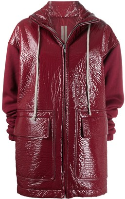 Rick Owens Hooded Cracked-Effect Parka