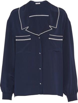 Miu Miu Contrast-Embroidery Buttoned Blouse