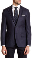 Ike Behar Navy Woven Two Button Notch Lapel Wool Sport Coat