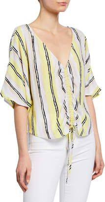 Cupcakes And Cashmere Atala Striped Dolman-Sleeve Top with Drawstring Front