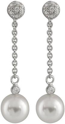 Masako 14K 0.11 Ct. Tw. Diamond & 7-7.5Mm Akoya Pearl Earrings