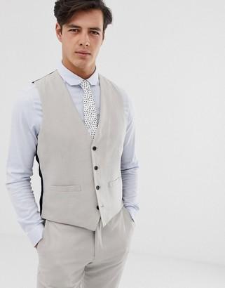 French Connection wedding slim fit plain linen suit vest-Gray