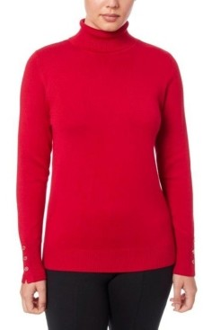 Joseph A Women's Solid Turtleneck Sweater with Button Cuff