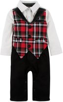 Andy & Evan Christmas Plaid Knit Playsuit (Baby) - Red-6-12 Months