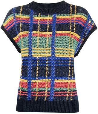 Coohem Madras-Check Knitted Vest