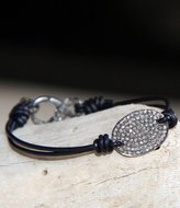 Designs By Alina Pave Diamond On Leather Bracelet