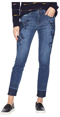 Liverpool Sadie Ankle Released Hem Embroidered in Super Comfort Stretch Denim Jeans in Montauk Mid Blue