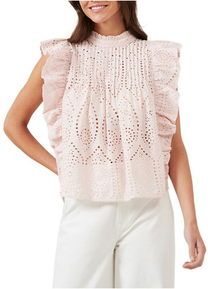 French Connection Broderie Ruffle Shirt