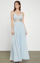 BCBGMAXAZRIA Pleated Lace Inset Gown
