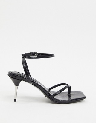 Topshop strappy toe post heeled sandals in black