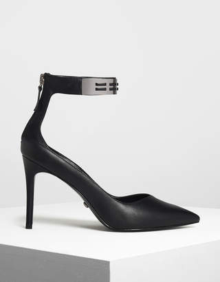 Charles & Keith Metallic Cuff Leather Heels