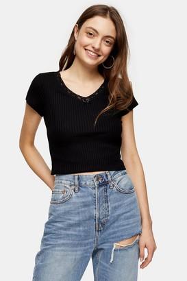 Topshop Black Ribbed Crop Lace Trim T-Shirt